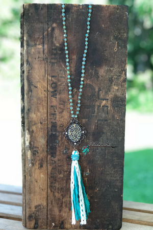 Turquoise Fabric Tassel Necklace
