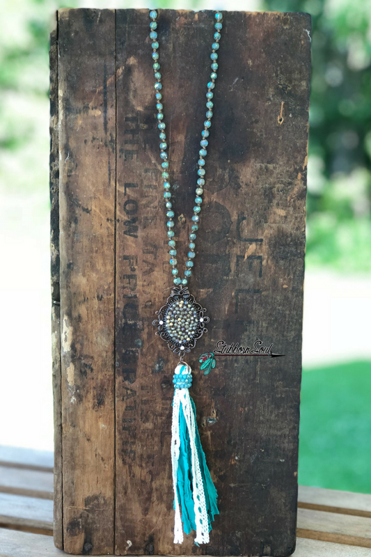 Turquoise Fabric Tassel Necklace Necklace Stubborn Soul Boutique