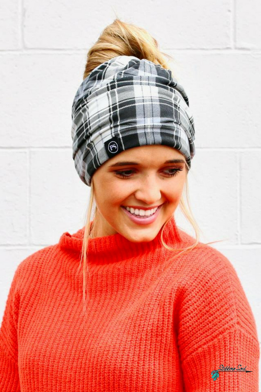 Black & White Plaid Peek a Boo Messy Bun Beanie Stubborn Soul Boutique