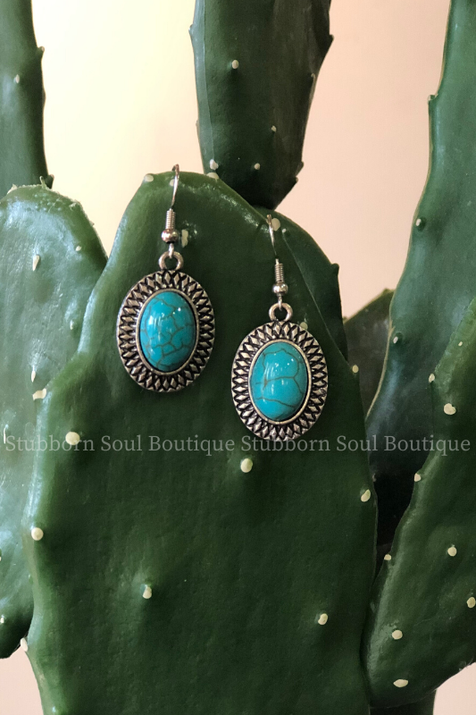 Oval Stone Earrings in Turquoise
