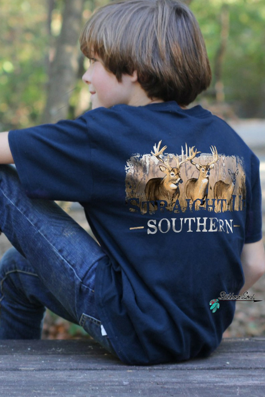Straight Up Southern Deer Scene Youth T-shirt (Clearance) Kids Top Stubborn Soul Boutique