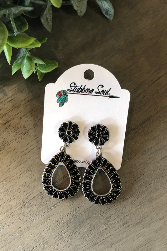 Teardrop Dangle Post Earrings in Black Earrings Stubborn Soul Boutique
