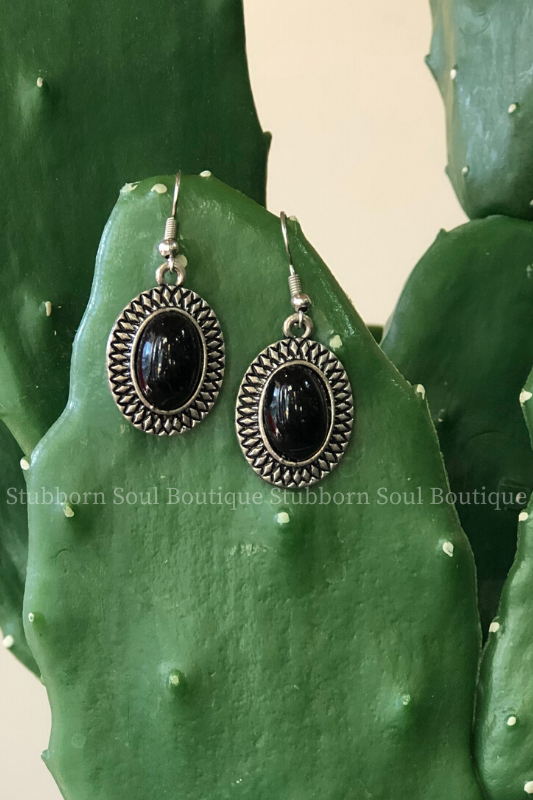 Oval Stone Earrings in Black (Clearance) Earrings Stubborn Soul Boutique