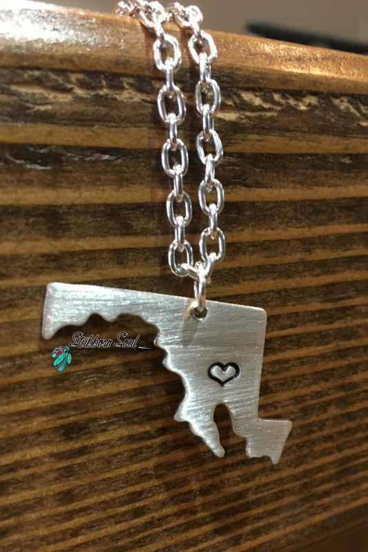 Love My State Maryland Necklace (Clearance) - Stubborn Soul Boutique