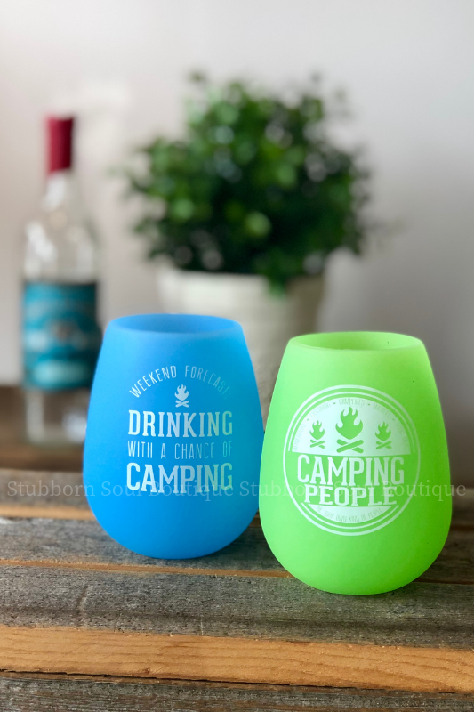 Camping People Silicone Wine Glasses (Set of 2) Stubborn Soul Boutique
