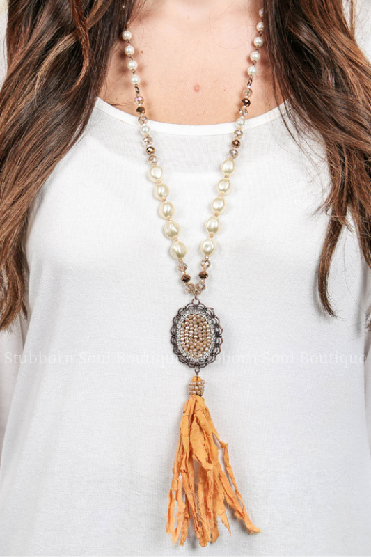 Beige Oval Pendant with Fabric Tassel Necklace (Clearance) Necklace Stubborn Soul Boutique