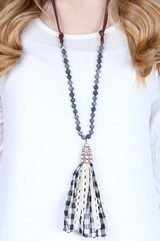 Black and White Checkered Tassel Necklace Stubborn Soul Boutique