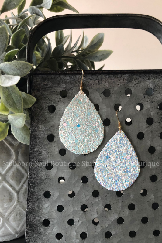 Glitter Teardrop Earrings in White Stubborn Soul Boutique