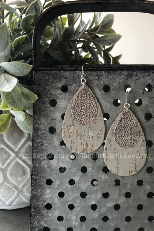 Teardrop Cork & Filigree Dangle Earrings Stubborn Soul Boutique