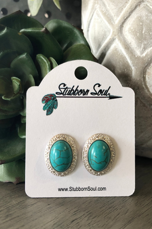 Turquoise and Silver Oval Post Earrings Stubborn Soul Boutique
