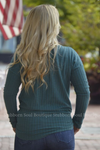 Tricia Button Long Sleeve Top in Teal Stubborn Soul Boutique