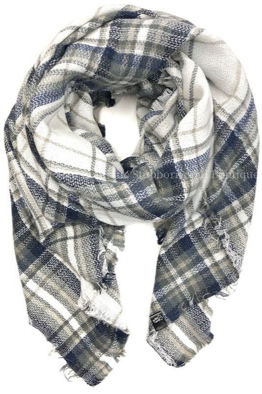 Cozy Feeling Blanket Scarf Denim Plaid