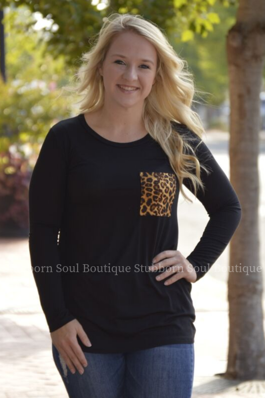 Melanie Leopard Pocket Long Sleeve Top