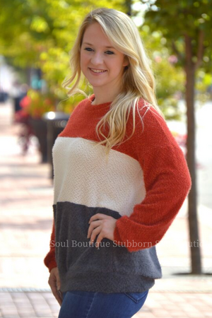 Bethany Color Block Sweater Stubborn Soul Boutique