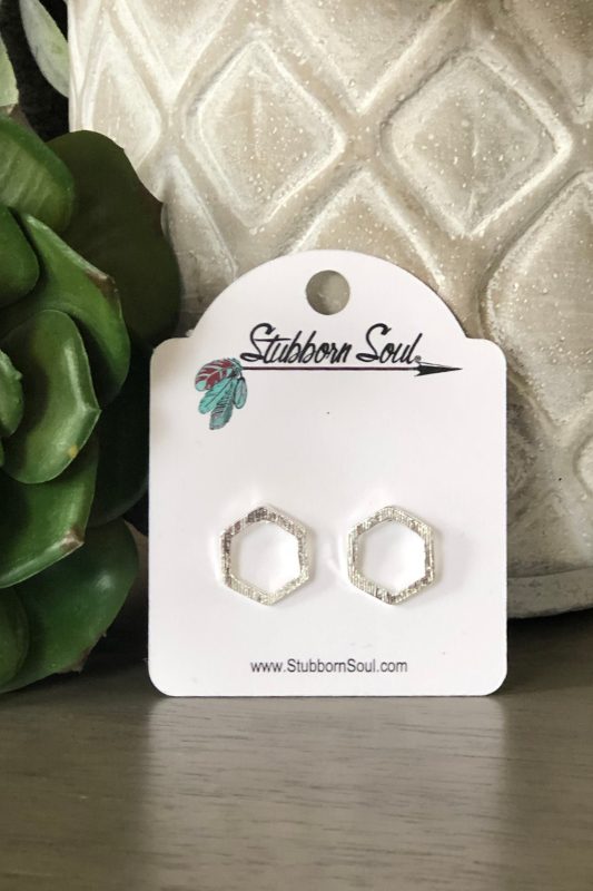 Honeycomb Stud Earrings in Silver