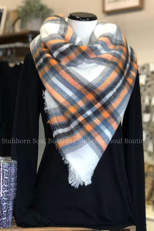 Cozy Feeling Blanket Scarf Blue, Ivory, & Orange Plaid