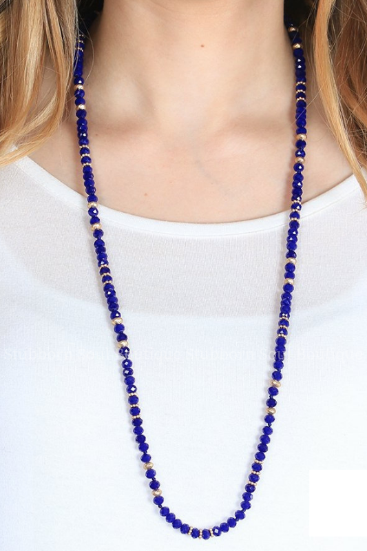Rae's Royal Blue Beaded Necklace Necklace Stubborn Soul Boutique