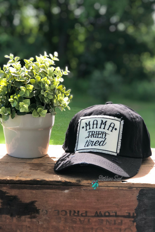 Mama Tired Black Baseball Hat