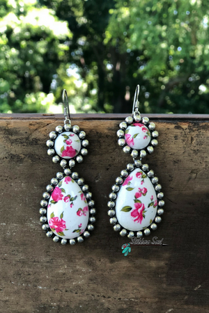 Pink & White Floral Earrings