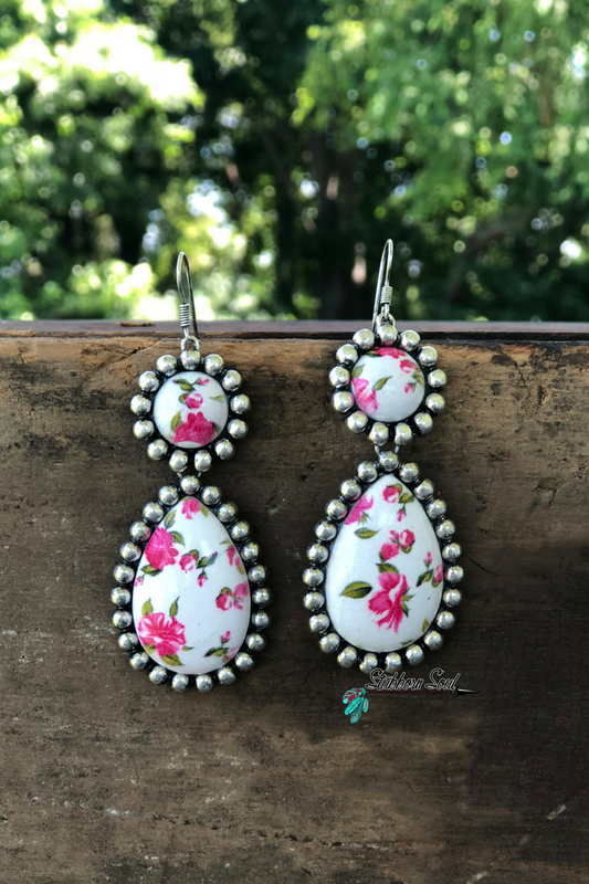 Pink & White Floral Earrings Earrings Stubborn Soul Boutique