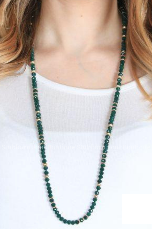 Rae's Green Beaded Necklace Necklace Stubborn Soul Boutique