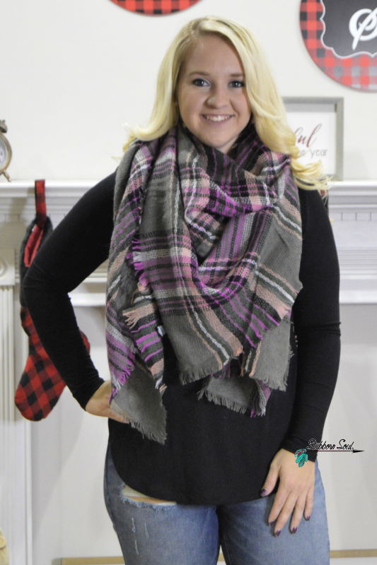 Cozy Feeling Blanket Scarf Fuchsia & Grey Plaid (Clearance) Stubborn Soul Boutique