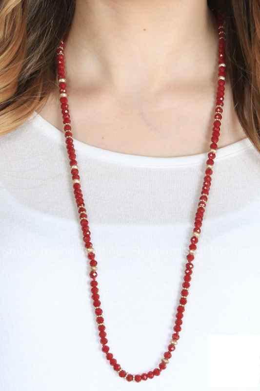 Rae's Maroon Beaded Necklace Necklace Stubborn Soul Boutique