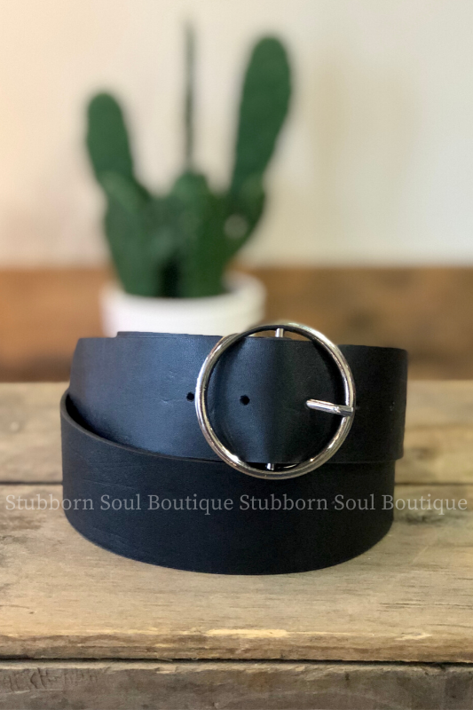 Circle Ring Buckle Black Belt (Clearance) Ladies Belts Stubborn Soul Boutique