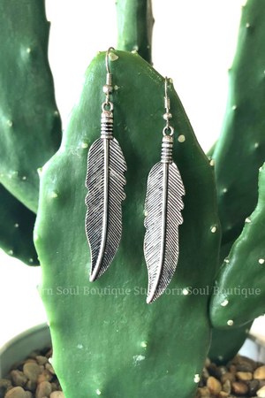 Metal Feather Dangle Earrings Stubborn Soul Boutique