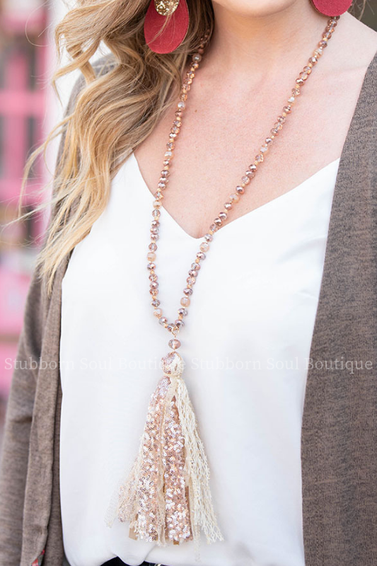Dreaming of You Rose Gold Tassel Necklace Necklace Stubborn Soul Boutique