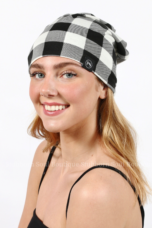 Black & White Buffalo Check Peek a Boo Messy Bun Beanie Stubborn Soul Boutique