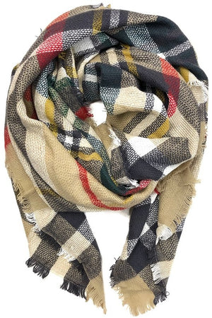 Cozy Feeling Blanket Scarf Khaki & Red