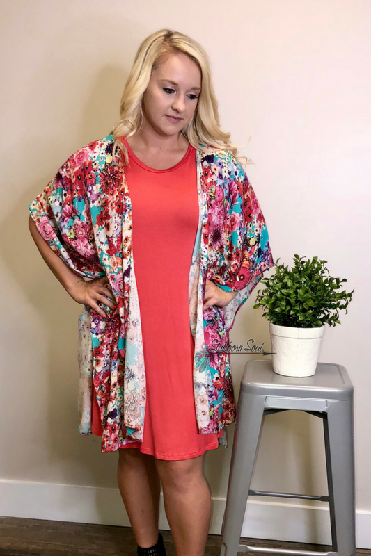 Hayley Floral Print Kimono (Clearance)