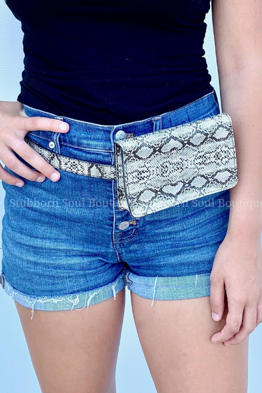 Animal Print Waist Bag - White Snake purse Stubborn Soul Boutique