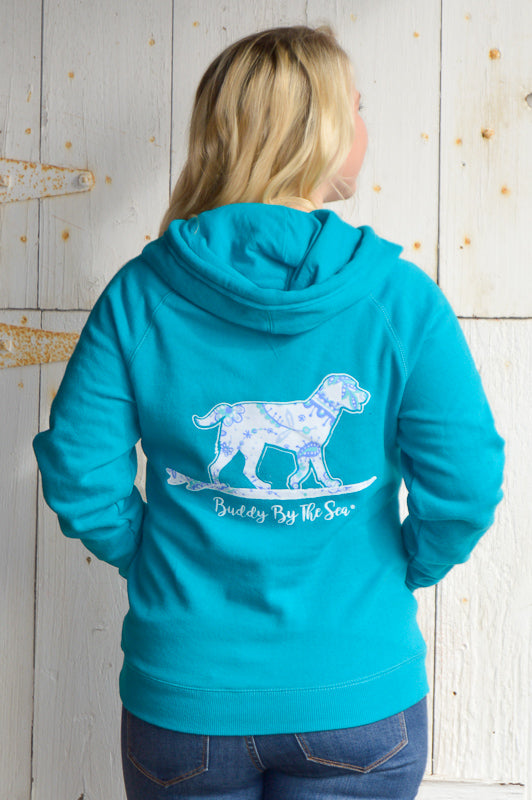 Totally Teal Buddy By The Sea Hoodie Stubborn Soul Boutique