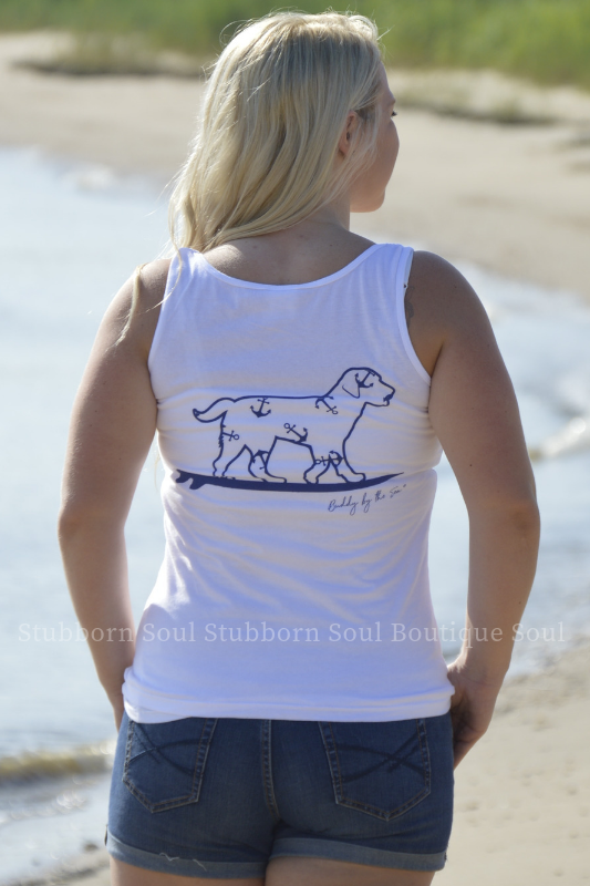 White with Navy Anchors Buddy By The Sea Logo Tank Stubborn Soul Boutique