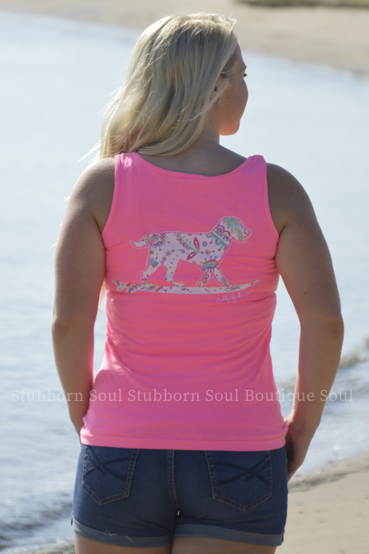 Neon Pink Paisley Buddy By The Sea Tank Stubborn Soul Boutique