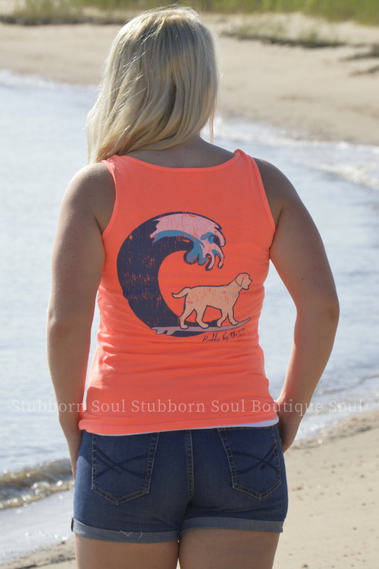 Sunset Orange Buddy By The Sea Logo Tank Stubborn Soul Boutique