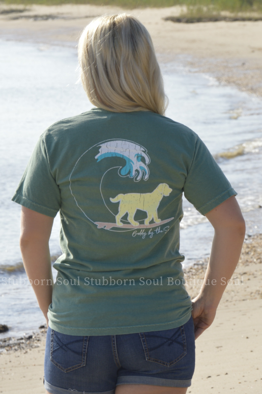 Cool Green Classic Distressed Buddy By The Sea Logo Tee Stubborn Soul Boutique