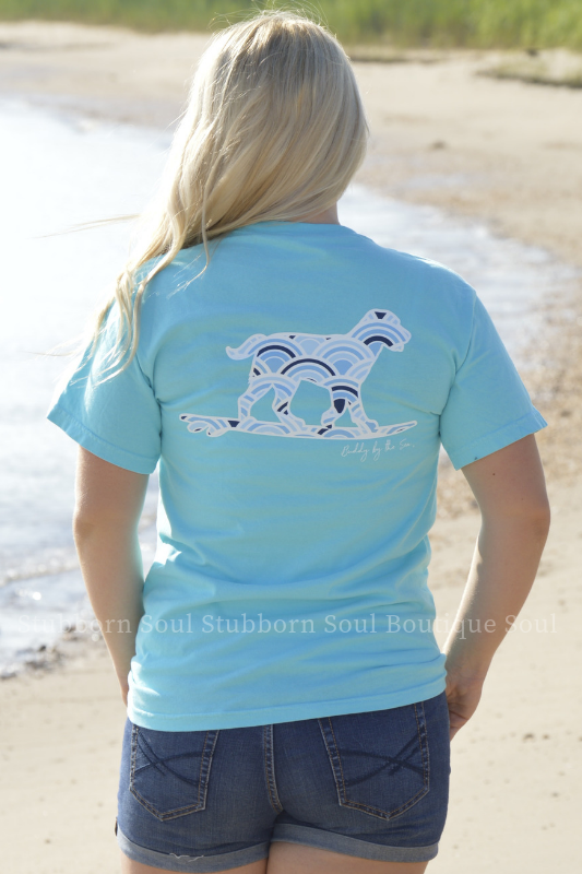 Lagoon Blue Wave Buddy By The Sea Logo Tee Stubborn Soul Boutique
