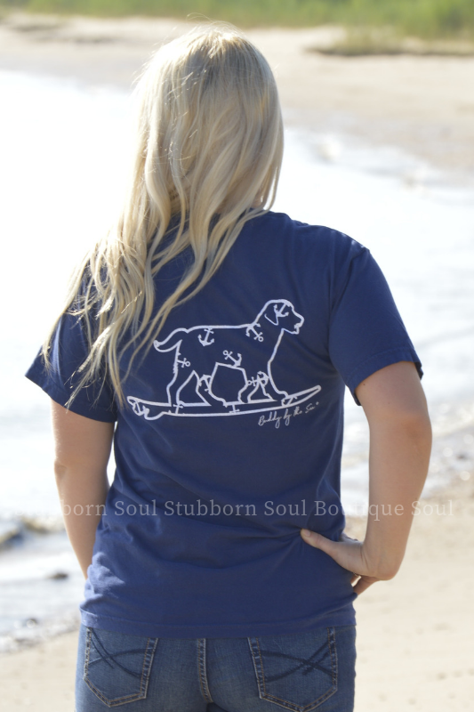 Navy with White Anchor Buddy By The Sea Logo Tee Stubborn Soul Boutique
