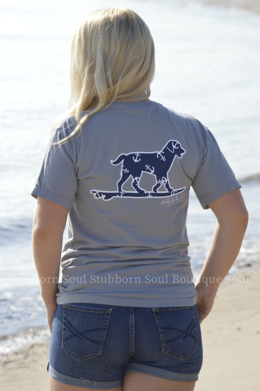 Gray with Navy Anchor Buddy By The Sea Logo Tee Stubborn Soul Boutique
