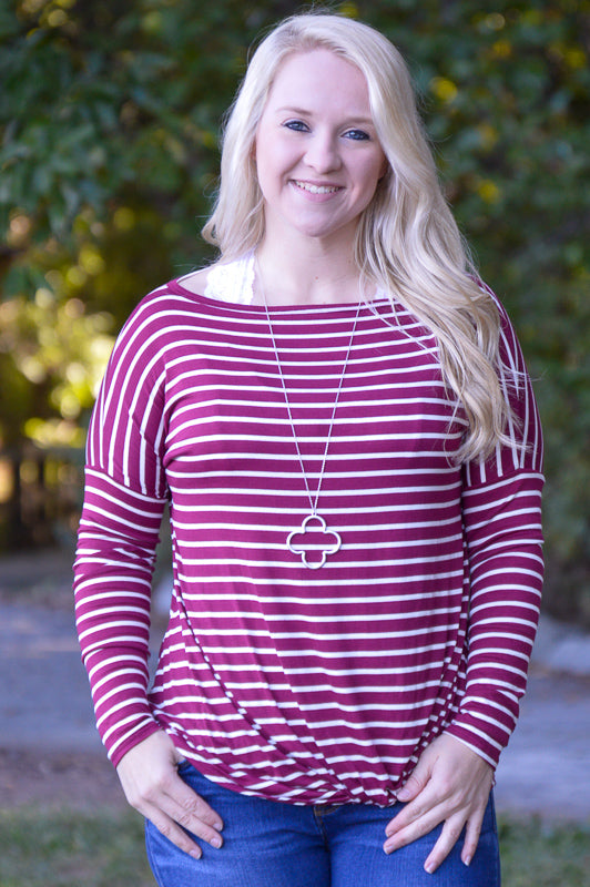 Holly Burgundy Stripe off the Shoulder Top