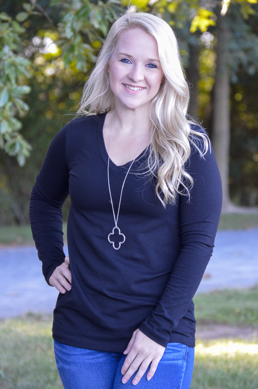 Amelia Solid Black V-Neck Long Sleeve Top Stubborn Soul Boutique