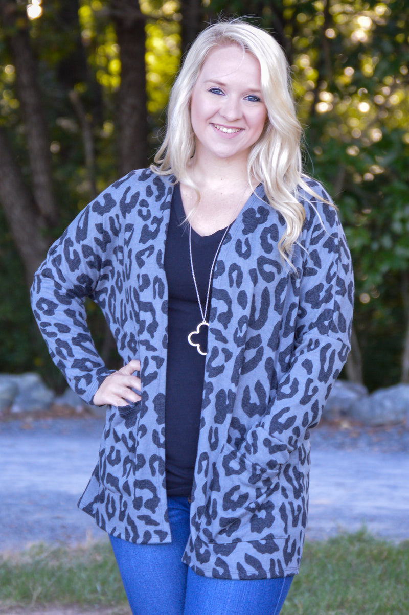 Rylie Leopard Print Cardigan in Charcoal