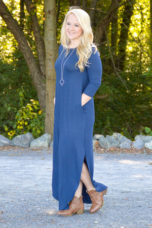 Gwen 3/4 Sleeve Maxi Dress in Midnight Navy