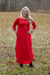 Gwen 3/4 Sleeve Maxi Dress in Ruby Red (Clearance) Dresses Stubborn Soul Boutique