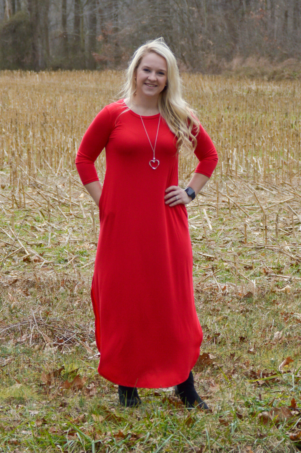 Gwen 3/4 Sleeve Maxi Dress in Ruby Red Dresses Stubborn Soul Boutique