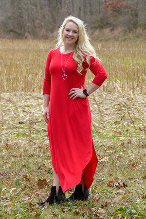 Gwen 3/4 Sleeve Maxi Dress in Ruby Red