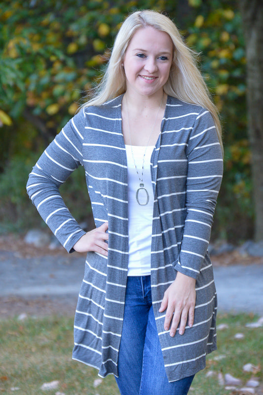 Skylar Stripe Gray Cardigan